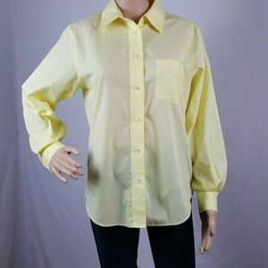 Blouse Petite 10P Long Sleeve Yellow Button Up